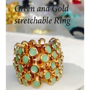 Green & Gold Stretchable Ring